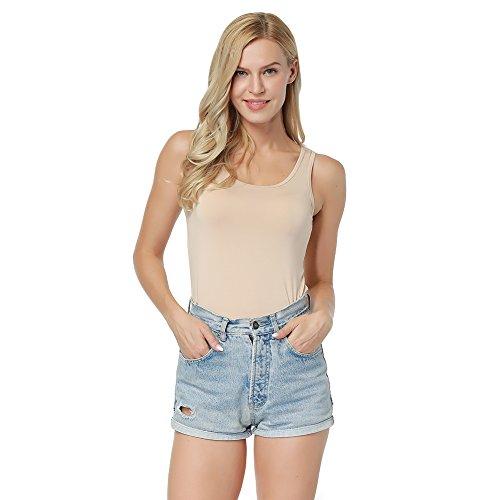 Lover-Beauty Damen Tank Top NOOS Basic T-Shirt Longtop Ärmellose Bluse Vest Oberteile Hautfarbe (Sleeve Bamboo Short Tee)