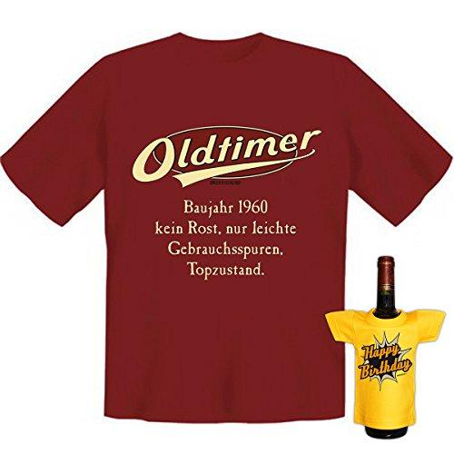 Geburtstags Set T-Shirt + Mini für die Flasche <->          Oldtimer Baujahr 1960          <->           ein kleines lustiges Geschenk Goodman Design®Dunkelrot Dunkelrot
