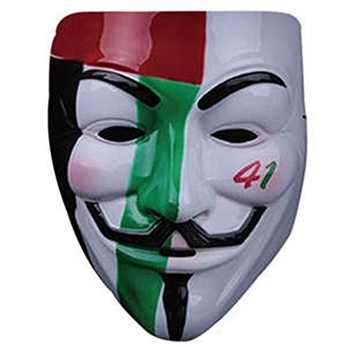 Yiqiane Halloween Cosplay V Geek Maske, Filmthema V Vendetta Maske Maskerade Party Dekoration V Wort Gesicht Erröten Maske (Design : 2)