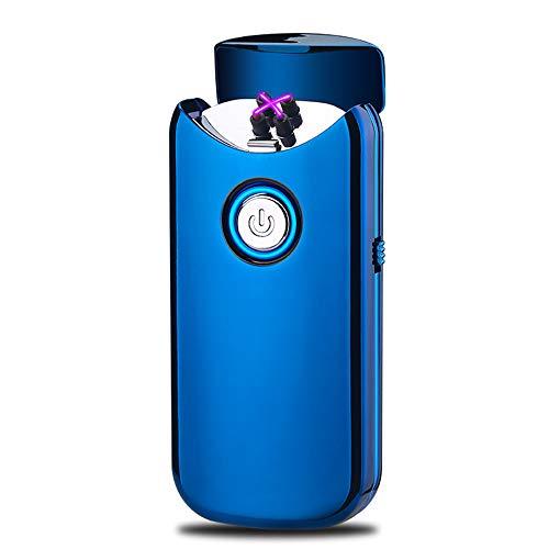 Encendedor Electrico,Modesty Mechero Electrico Doble Arco USB, Tapa abierta automáticamente, Mechero Recargable de Plasma Sin Llama (Azul) - EC003