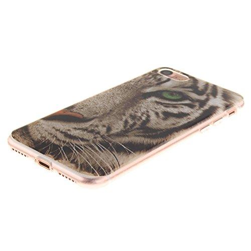 iPhone 7 Plus Hülle,iPhone 7 Plus Case,iPhone 7 Plus Cover,ikasus® TPU Silikon Schutzhülle Case Hülle für iPhone 7 Plus,Durchsichtig mit Gemalte Muster Handyhülle iPhone 7 Plus Silikon Hülle [Kristall Tiger