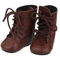 1 Par Zapatos Botas Miniatura para Muñecas American Girl Marrón
