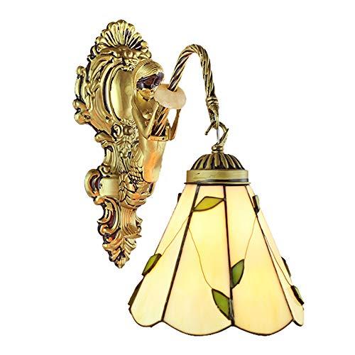 Europäische Retro Tiffany Mosaik Wandleuchte Traditionelle Klassische Wandleuchte Grüne Blätter Bemaltes Glas Bronze Meerjungfrau Schmiedeeisen 1 Kopf E27 -