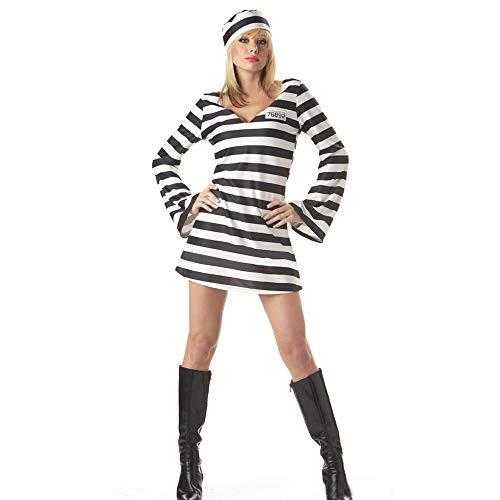fagginakss Damen sexy Gestreiftes Sträflingskleid Herren Prisoner Convict Robber Burglar Prison Outfit Räuber Einbrecher Phantasie Uniform Halloween Cosplay - Karneval Flüchtlings Kostüm
