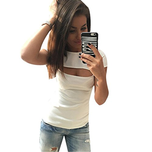 CYBERRY.M Femme Fille Manches Courtes Décolleté T-shirt Chemise Blouse Top Blanc