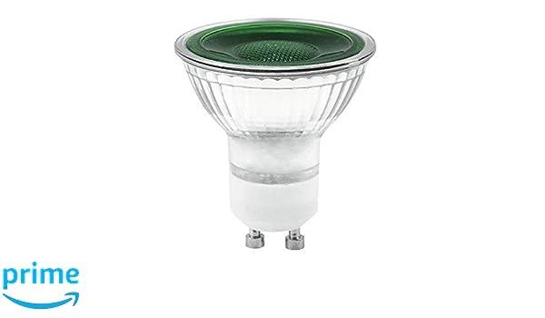 -#5474 LED Lampe 7 Watt grün Ø 50 mm 230 Volt mit Sockel GU10