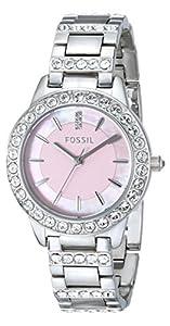 Fossil Ladies Dress ES2189 - Reloj analógico de cuarzo para mujer, correa de acero inoxidable color plateado de Fossil