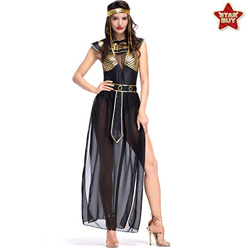 Isis Lustig Kostüm - COSOER Altägyptische Mythologie Göttin Cosplay Kostüm Bar Bühnenkleidung Für Halloween,Black-XL