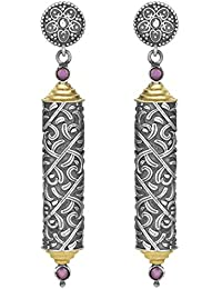 Peora Indian Traditional Silver Oxidised Cylinder Ruby Stone Dangle Drop Earrings for Women