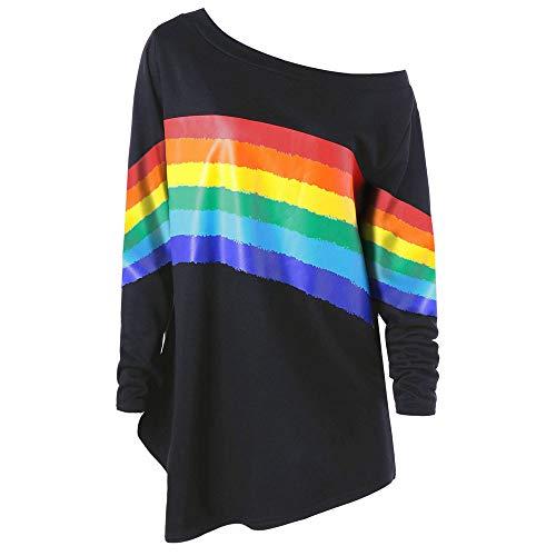 Ugg-stiefel-socken (Yvelands Frauen beiläufige lose Lange Hülsen-Regenbogen-Druck Pullover Bluse Shirts Sweatshirt)