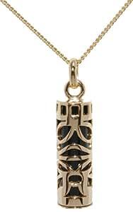 Les Trésors de Nadège - Pendentif Grand Tiki Sagesse Onyx - Plaqué Or 750/000 + Chaîne Dorée 50cm