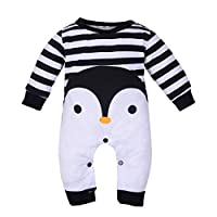 Sunbona Toddler Newborn Baby Boys Girls Cartoon Pajamas Cosplay Costume Winter Warm Romper Outfits Clothes (0~3Months, Black)