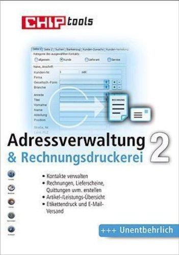Adressverwaltung & Rechnungsdruckerei 2, CD-ROM Kontakte verwalten Rechnungen, Lieferscheine, Quittungen uvm. erstellen Artikel/Leistungs-Übersicht. Für Windows 98, ME, 2000, XP und Vista