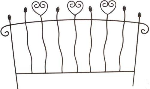 Unbekannt Herziger Beetzaun Breite 48 cm Metall Dunkelbraun Zierzaun Dekostecker Stecker