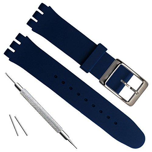 Bañado en Plata Hebilla de Acero Inoxidable Resistente al Agua Correa de Reloj de Goma de Silicona Reloj Banda (19mm, Navy Blue)