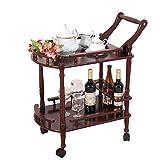 Scaffale per Vino in Legno Massello 2-Tier con Ruote Kicthen Bar Sala da Pranzo Porta Vino da tè Carrello di Servizio Mobili Cucina Carrello per Bagno 2 Colori
