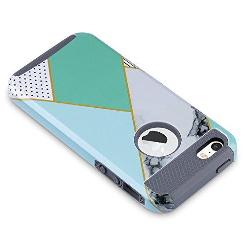 ULAK - Cover per iPhone 5S / 5, Phone SE PC + TPU Custodia ibrida rigida super protettiva con doppio strato in silicone per Apple iPhone SE / 5, iPhone 5S Case Cover - Vino rosso + Grigio Mint Marmo