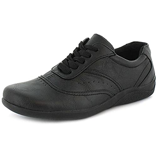 Classic Womens/Ladies Black Comfort Casual Shoes With Lace Up Fastening - Black - UK