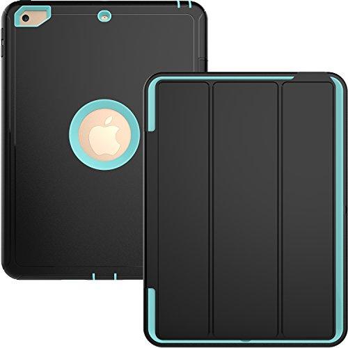 beimu Fall für neue iPad 2017iPad 24,6cm Hülle, Ständer Folio Auto Sleep/Wake Fall Schock Ebene Armor Defender Full Body Schutzhülle mit integriertem Displayschutz für Apple New iPad 24,6cm LitBlue