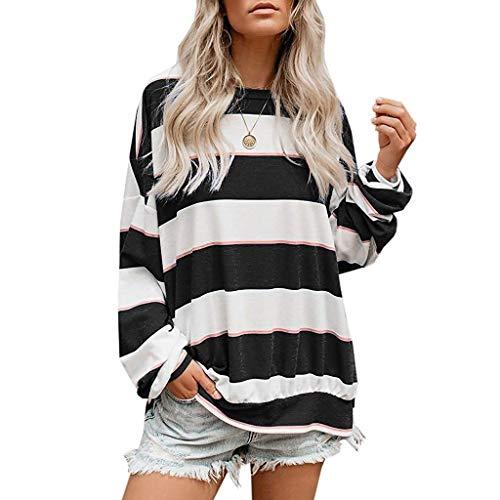 GOKOMO Frauen Langarmshirts übergroße gestreifte Tuniken blusen Pullover Sweatshirt gestreiftes Oberteil mit Rundhalsausschnitt(Schwarz,XXX-Large)