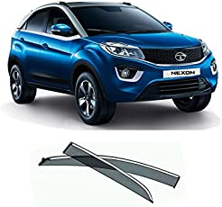 Caro Manic- Premium Quality Car Chrome Rain Wind Door Visor Side Window Deflector For - Tata Nexon