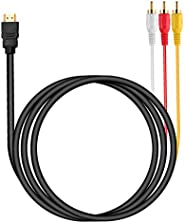كابل HDMI إلى RCA، 1080P HDMI ذكر إلى 3rca فيديو الصوت AV مركب ذكر M/M موصل محول كابل سلك الارسال (لا وظيفة تح