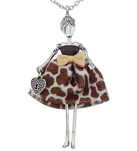 Hanessa Damen-Schmuck Silberne Hals-Kette mit Puppe-Anhänger Zinklegierung in Silber mit Schlüsselloch-Herz und Giraffen-Muster-Kleid Geschenk für die Ehe-Frau/Freundin/Frauen