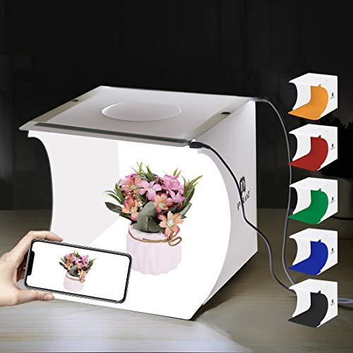 PULUZ Foto Studio Leuchtkasten Tragbar 20 x 20 x 20cm Lichtzelt 2 LED Panels 6000K Mini 2 x 3,5W Fotografie Studiozelt Kit mit 3 abnehmbaren Hintergründen Schwarz, Weiß, Orange, Rot, Grün, Blau 2 X 20 Panel