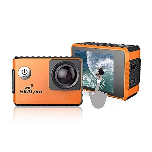 YUN CAMERA@ S100PRO 4K Sport Action Kamera mit Touchscreen und Gyro GPS Erweiterung Modell Sprachsteuerung 1080P WiFi wasserdichte Cam Pro,Orange