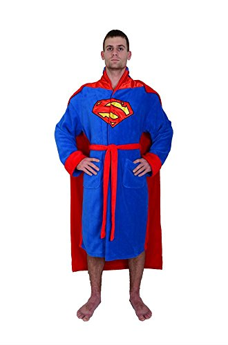 en's Fleece Bathrobe with Cape (Superman Roben)