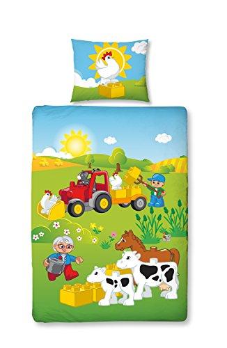 LEGO DUPLO Mädchen und Jungen Baby / Kinder Bettwäsche · LITTLE FARM · Bauernhof Tiere & Traktor mit Wende Motiv · 2 teilig · Kissenbezug 40x60 + Bettbezug 100x135 cm · 100 % Baumwolle