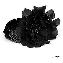 Haar-/ Stirnband mit Pailletten und großer Stoff-Blume (schwarz)