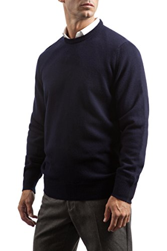 Great and British KnitwearHerren Pullover, Einfarbig Blau Scots Navy (Lammwolle)