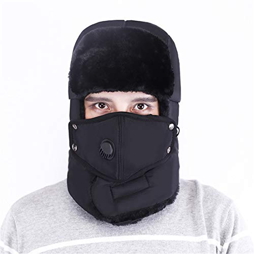 VJUKUB Männer Unisex Warm Trapper Aviator Trooper Earflap Winter Ski Hat mit Maske Baggy Slouchy Knitting Hüte,Black
