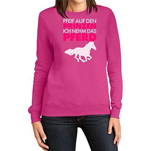 Damen Pfeif auf den Prinz ich nehm das Pferd Spruch weiß Frauen Sweatshirt Large Rosa