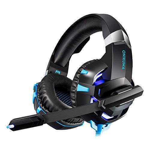 Happyroom Gaming Headset - ONIKUMA Xbox One Gaming Headset, PS4 Headset, Gaming Kopfhörer PS4, PC Computer, Laptop, Tablet, Smartphone Und Anderen 3,5 Mm【Verbessert】(Blue, K2A)