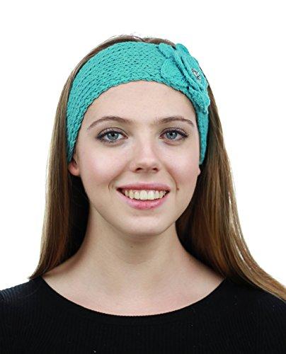 Bandeau d'hiver tricoté à la main avec fermeture à bouton. Produit offert par NYFASHION101 . NAG40Y Menthe