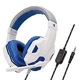 Casque Bluetooth à Réduction de Bruit Over-Ear Audio Stéréo Écouteurs Circum Auriculaire Fil avec Micro Basses Puissantes, Léger, 20h de Jeu, pour PC Smartphone TV (Blanc)