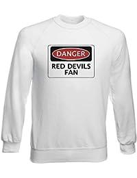 Sudadera por Hombre Blanco WC0303 Danger Manchester United Devils Fan  Football 736552b023872