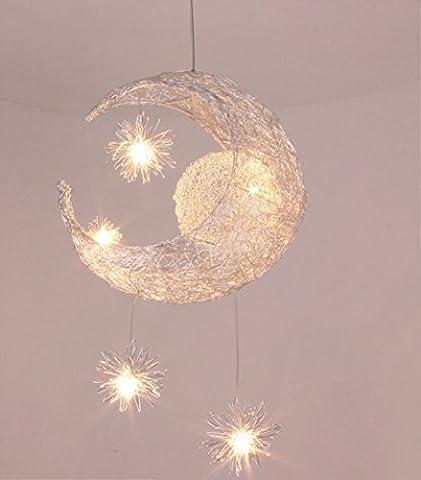 Creative Moon and Stars Children Bedroom Living Room Ceiling Light Pendant Hanging Lamp Chandelier
