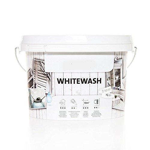 Shabby Chic Kreidefarbe Weiß für Holz und Möbel im Vintage-Antiklook - Farbe: 'White Wash' -...
