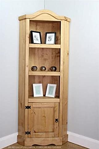 Corona Distressed Mexican Waxed Solid Pine Rustic 1 Door 3 Shelf Corner Unit
