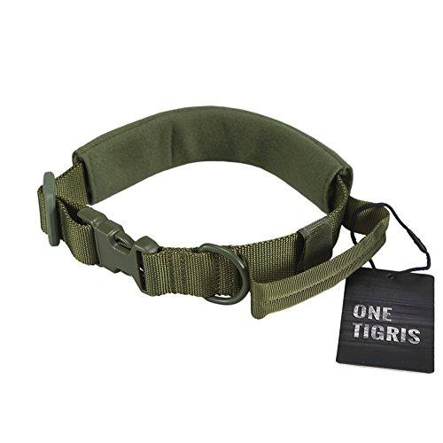 OneTigris taktische Nylon Hundehalsband mit Griff weich Verstellbare Halsband für mittlere/große Hunde (Armee Grün)