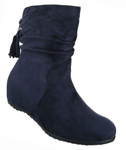 Damen Schuhe Stiefeletten Stiefel Keil Wedges Dunkelblau Dunkelblau