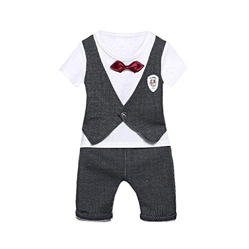 BYSTE bambino Ragazzo Carino piccolo gentiluomo cravatta Manica corta Gilet Camicie Pullover Felpa Maglietta Neonato Estate T-Shirt Top+ Bambini pantaloni 2pcs (Grigio, 18 mesi)