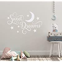 """Wall Decal Quotes 24""""X14"""" Sweet Dreams Little One Bedtime Sleep Nap Moon Stars Dreaming Nursery Mural Wall Sticker for Bedroom Kitchen Bathroom"""