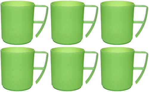 idea-station NEO Kunststoff-Tassen 6 Stück, 350 ml, grün, Griff, mehrweg, bruchsicher, Kaffee-Becher, Kaffee-Tasse, Kinder-Tasse, Kinder-Becher, Party-Geschirr, Camping-Geschirr