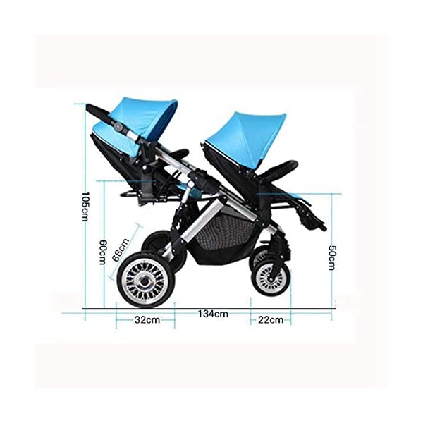 ZhiGe Pushchair Twin Stroller Two-Way Lightweight Suspension Baby car Reclining high View Foldable Baby Stroller 68 * 105 * 134cm ZhiGe Light city stroller Ideal for a daily life with bus or train Compact folding size 3