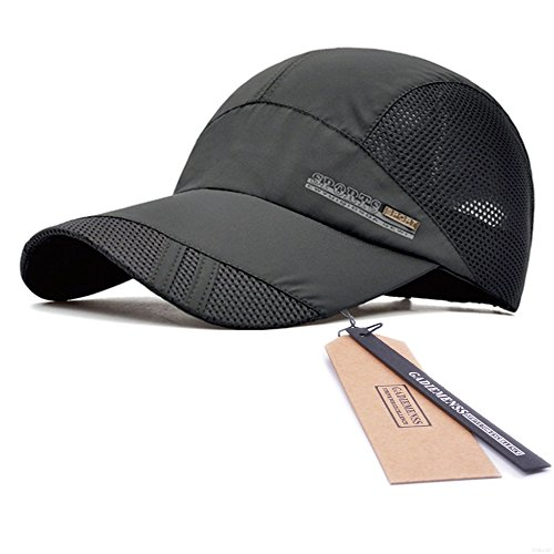 GADIEMENSS Quick Drying Breathable Running Outdoor Hat Cap Only 2 Ounces (DimGray)