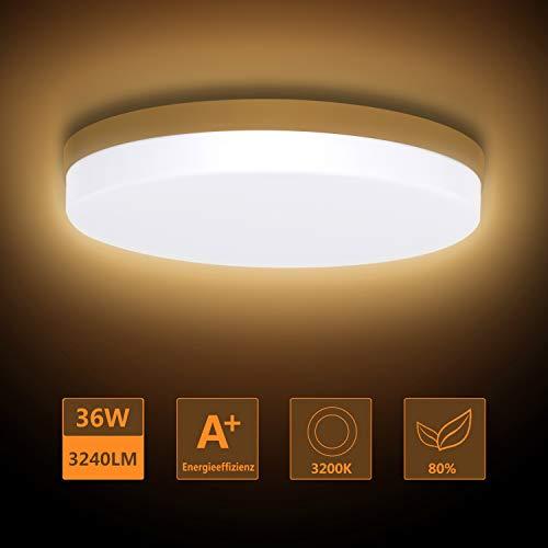Ouyulong LED Deckenleuchte 36W 3200K 3240LM, Für Wohnzimmer,Schlafzimmer,Balkon -Super helle Deckenleuchte, Deckenleuchte Wohnzimmer Warmes gelb Ø230×40 mm